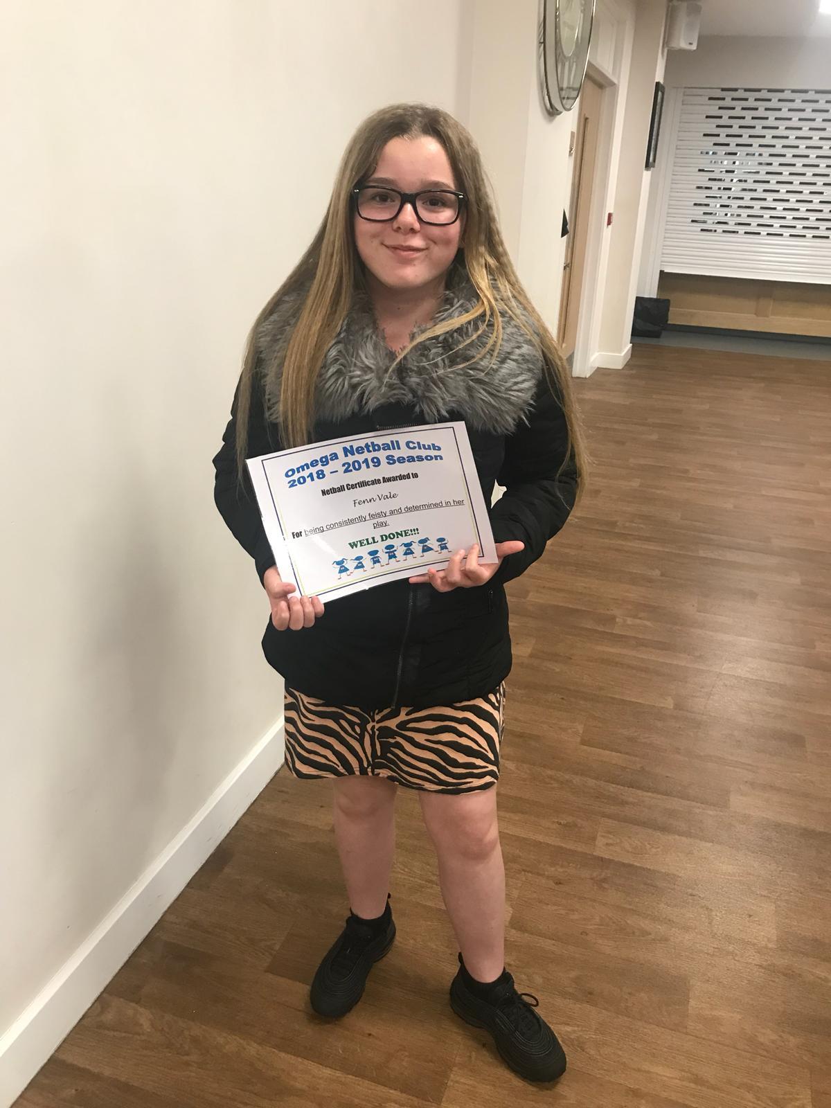 Certificate of achievement for Fenn Vale 2019
