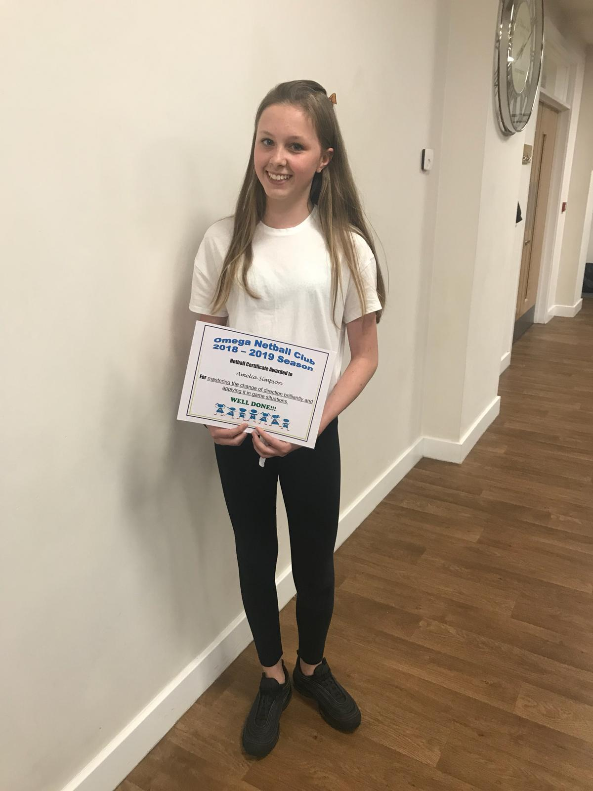Certificate of achievement for Amelia Simpson 2019
