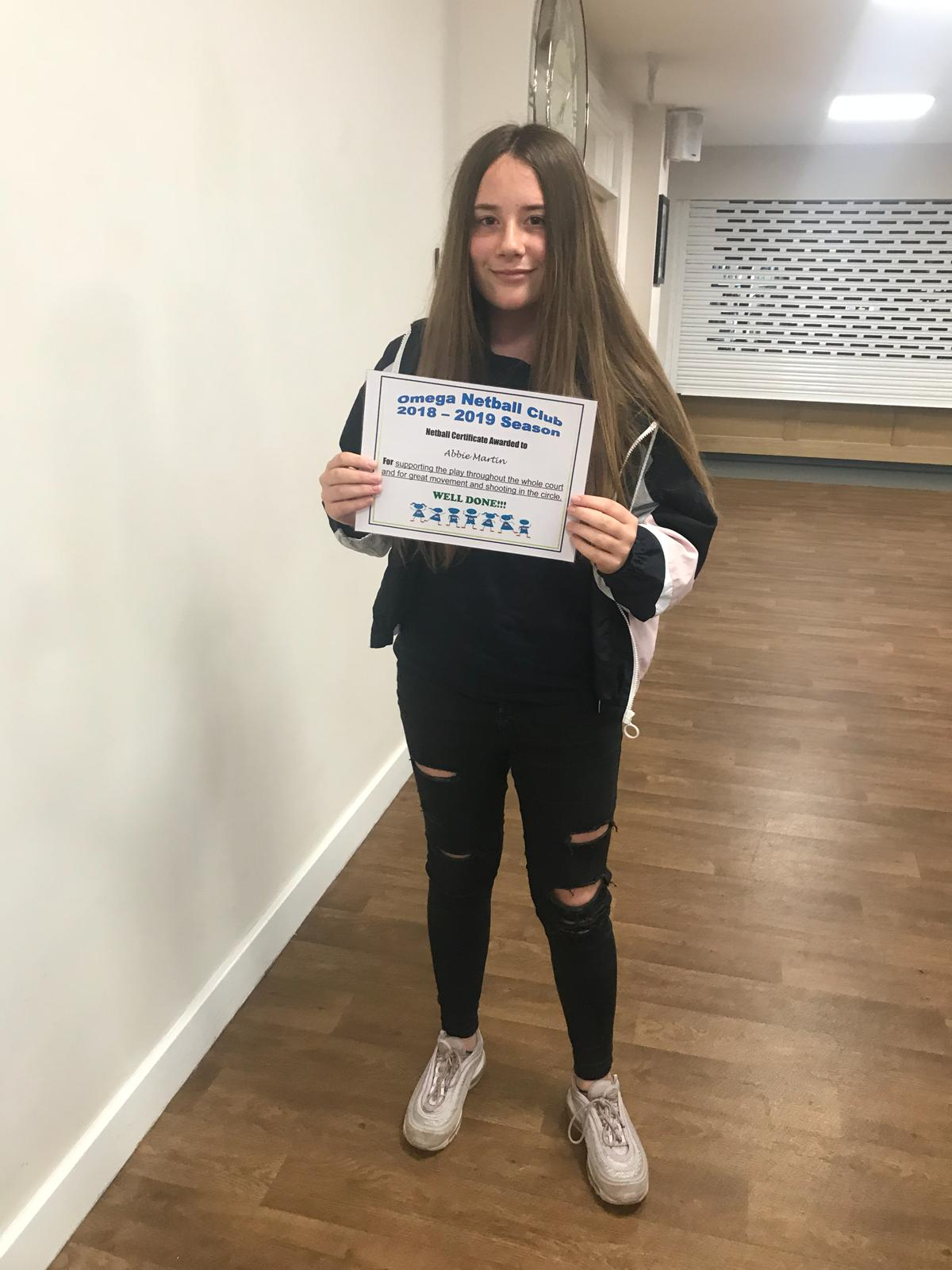 Certificate of achievement for Abbie Martin