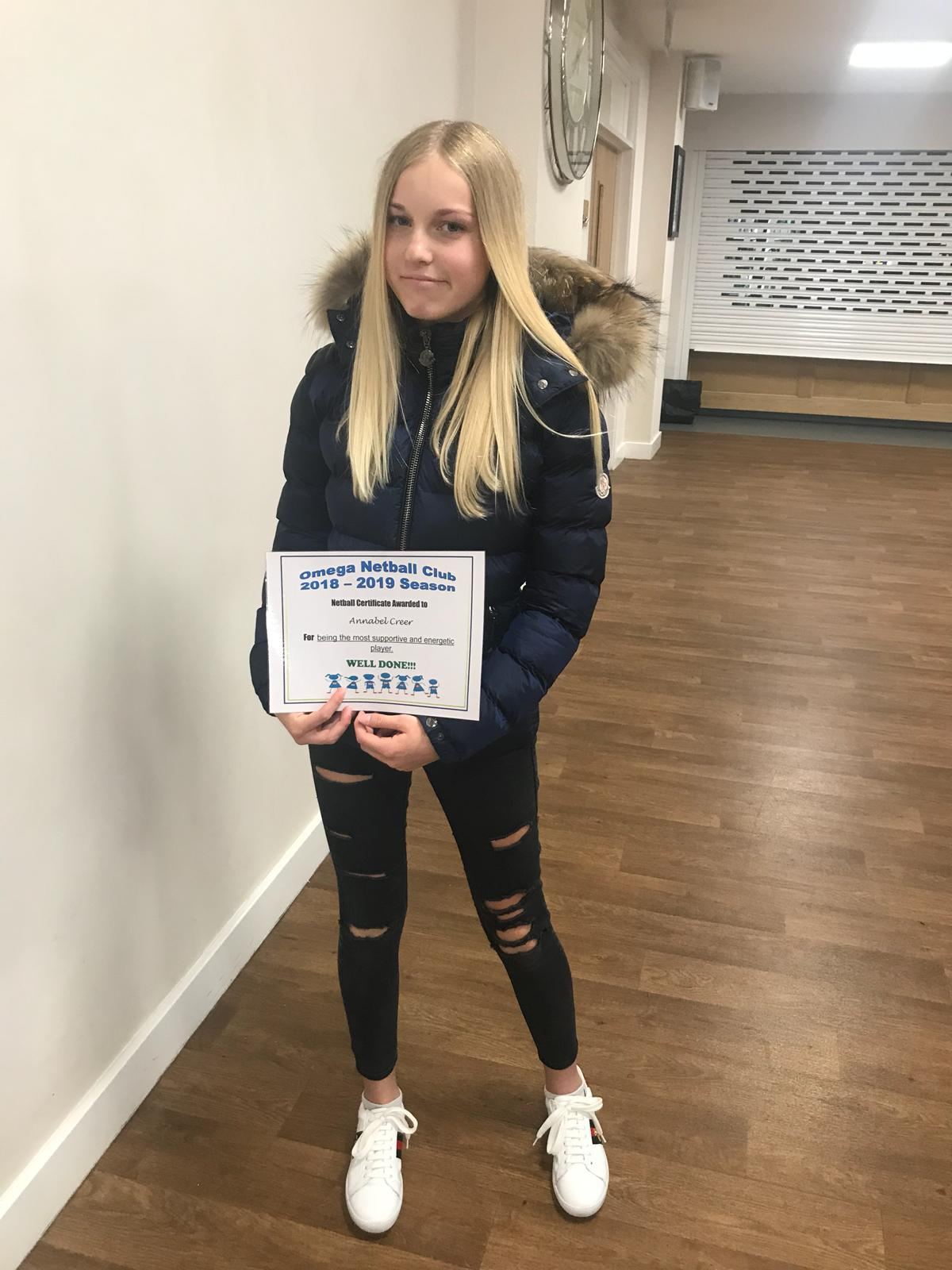 Certificate of achievement for Annabel Creer 2019