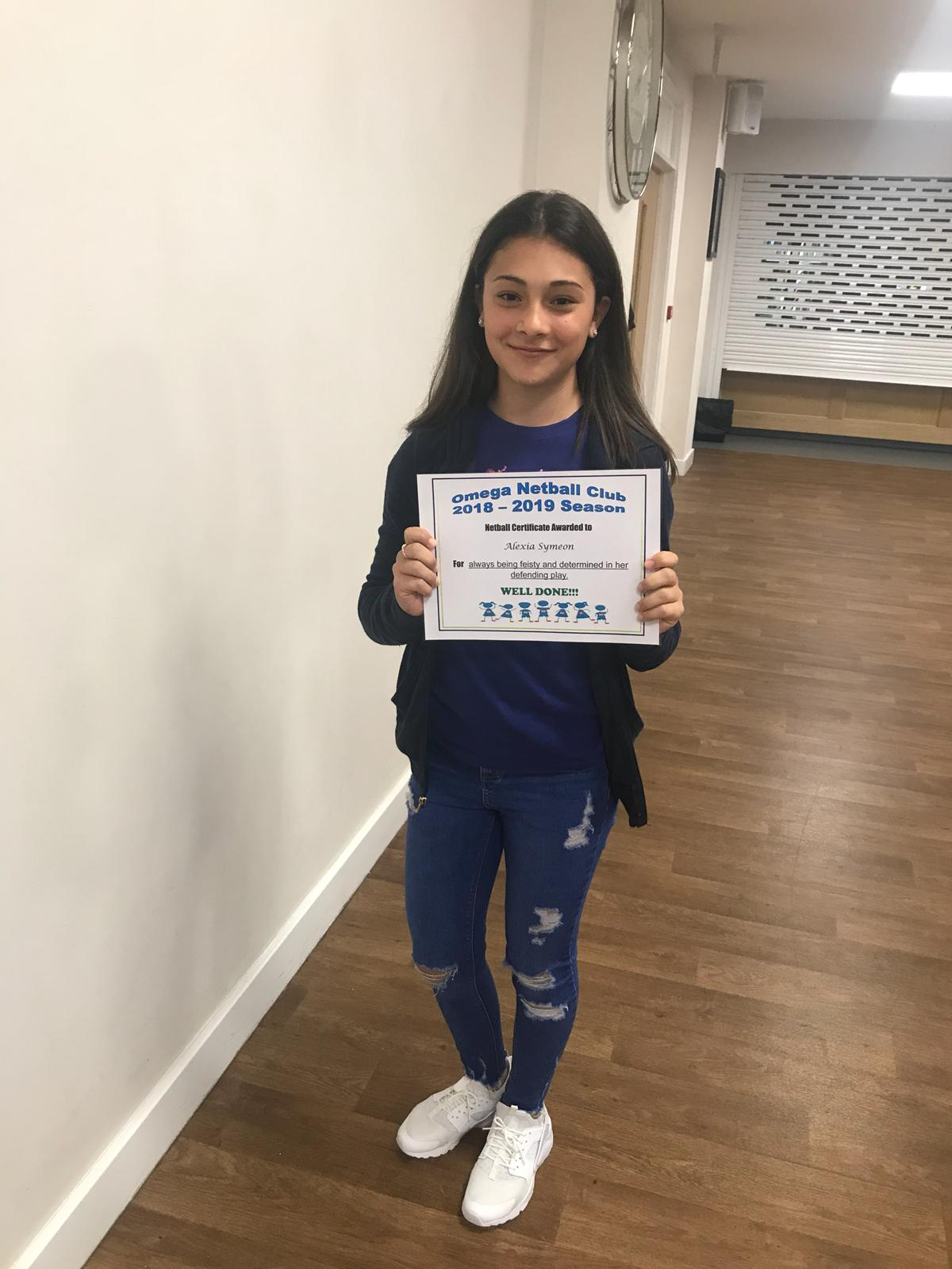 Certificate of achievement for Alexia Symeon