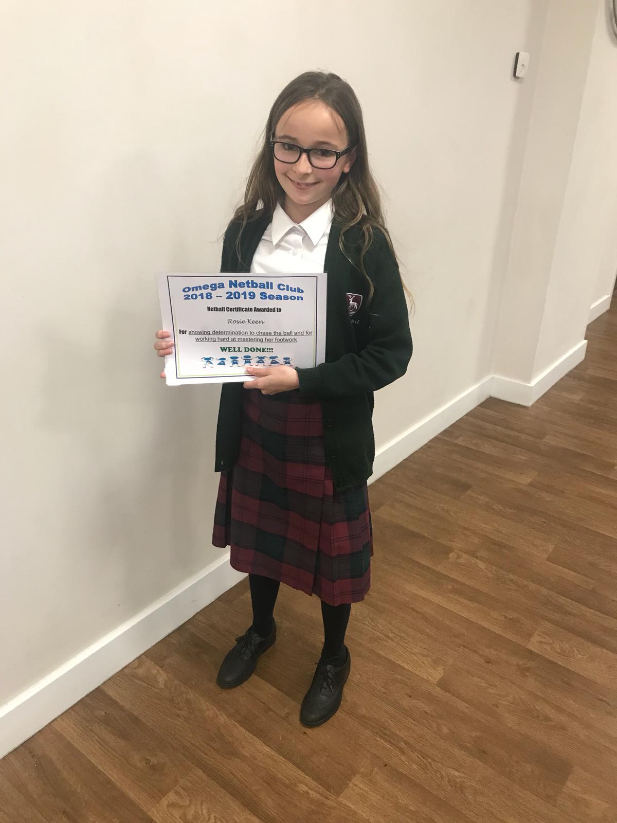 Certificate of achievement for Rosie Keen 2019
