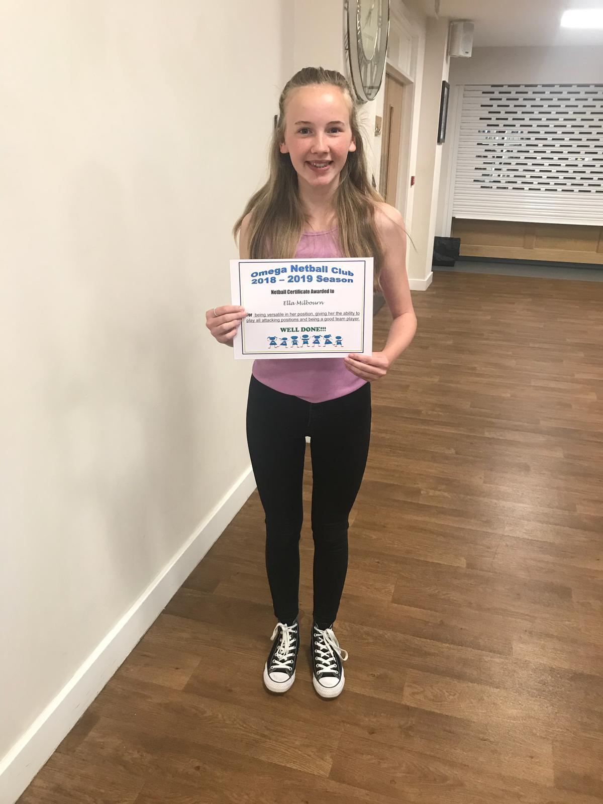 Certificate of achievement for Ella Milburn 2019
